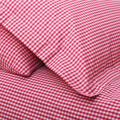 SINGLE DUVET COVER SET in Red Gingham Design